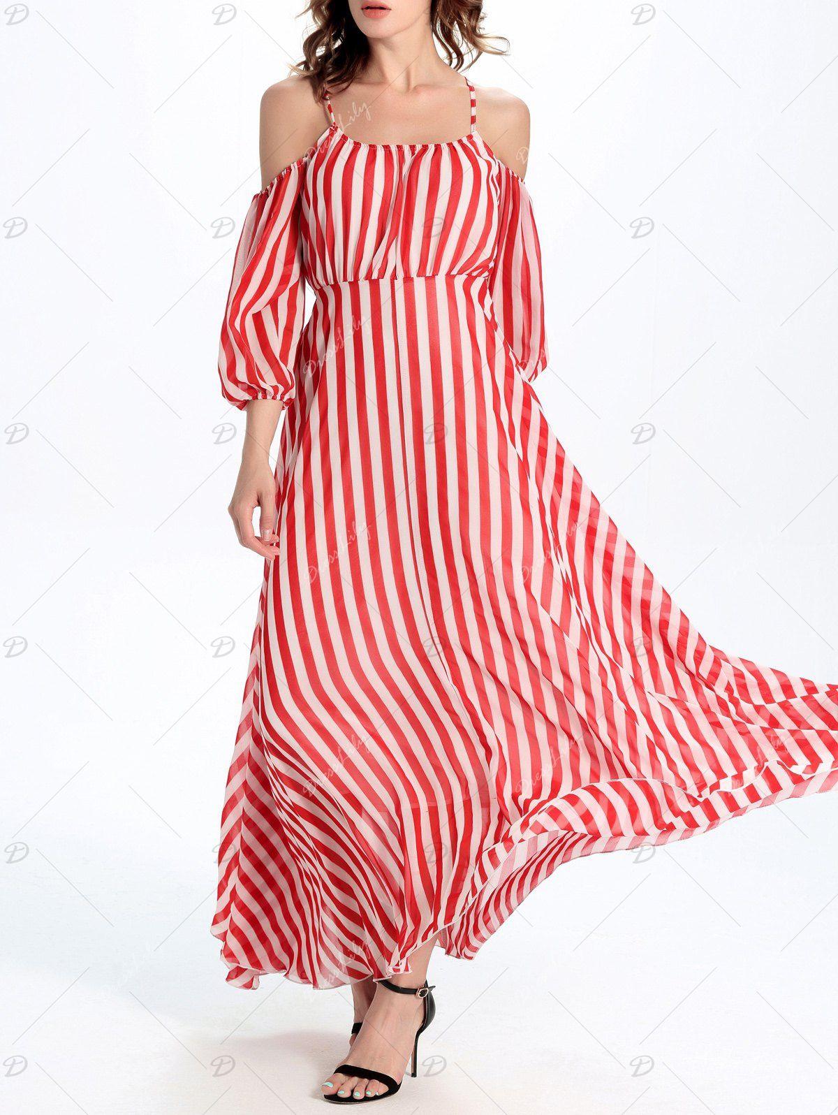 Cold Shoulder Cami Vertical Striped Maxi Dress Vertical Striped Maxi Dress Cheap Maxi Dresses Dresses [ 1596 x 1200 Pixel ]