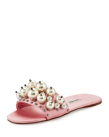 1dfe1e7e53 MIU MIU Pearly Embellished Satin Mule Slide. #miumiu #shoes #sandals ...