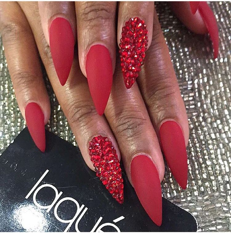 Pinterest Pink23x Red Stiletto Nails Red Nail Art Red