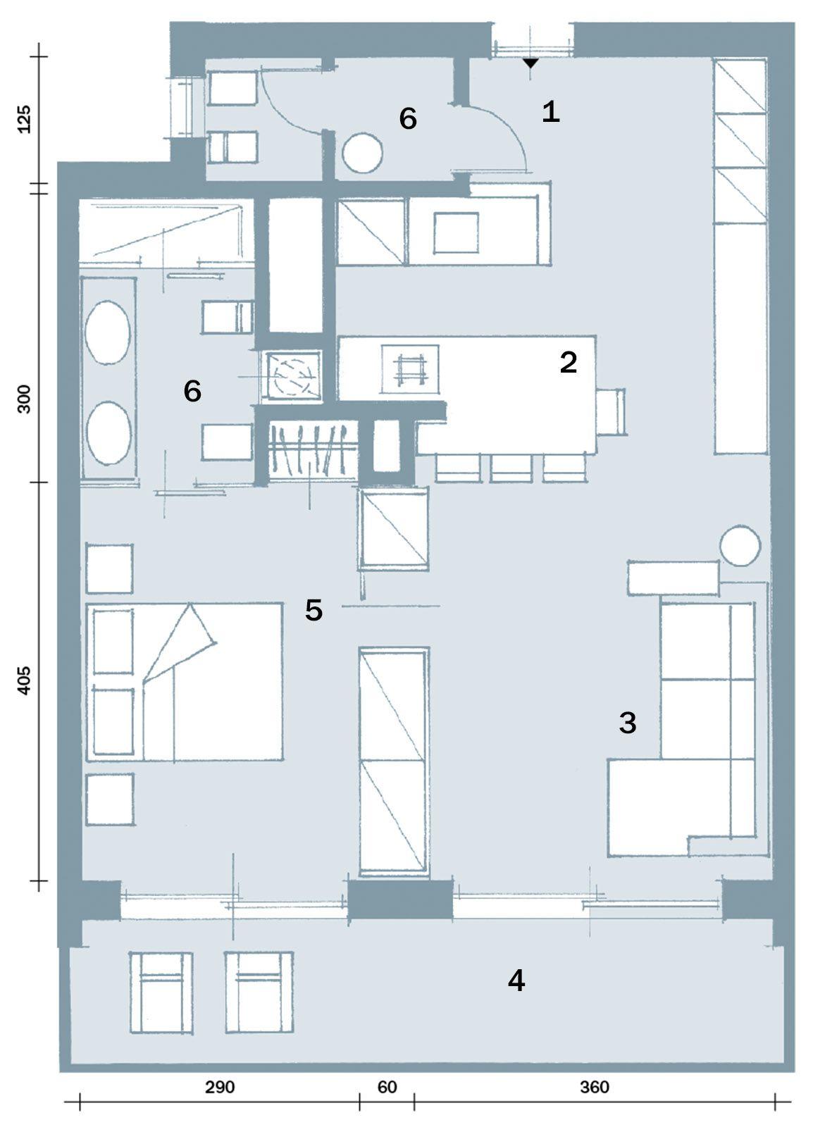 In 57 mq due bagni per la casa dagli incastri perfetti for Planimetrie con stanze segrete