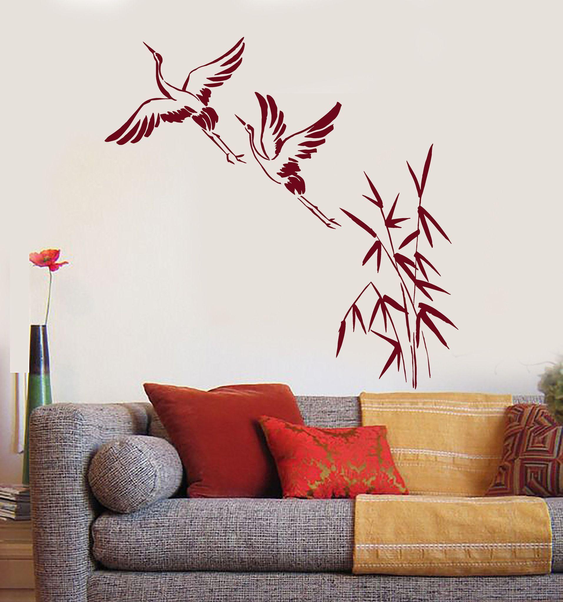 Vinyl Wall Decal Cranes Bamboo Asian Birds Japanese Art Stickers - Vinyl wall decals bamboo