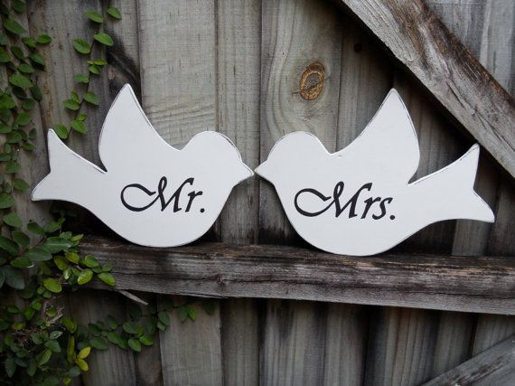 Mr and Mrs Love Bird Wedding Chair Signs by AandJStudio on Etsy, $20.00
