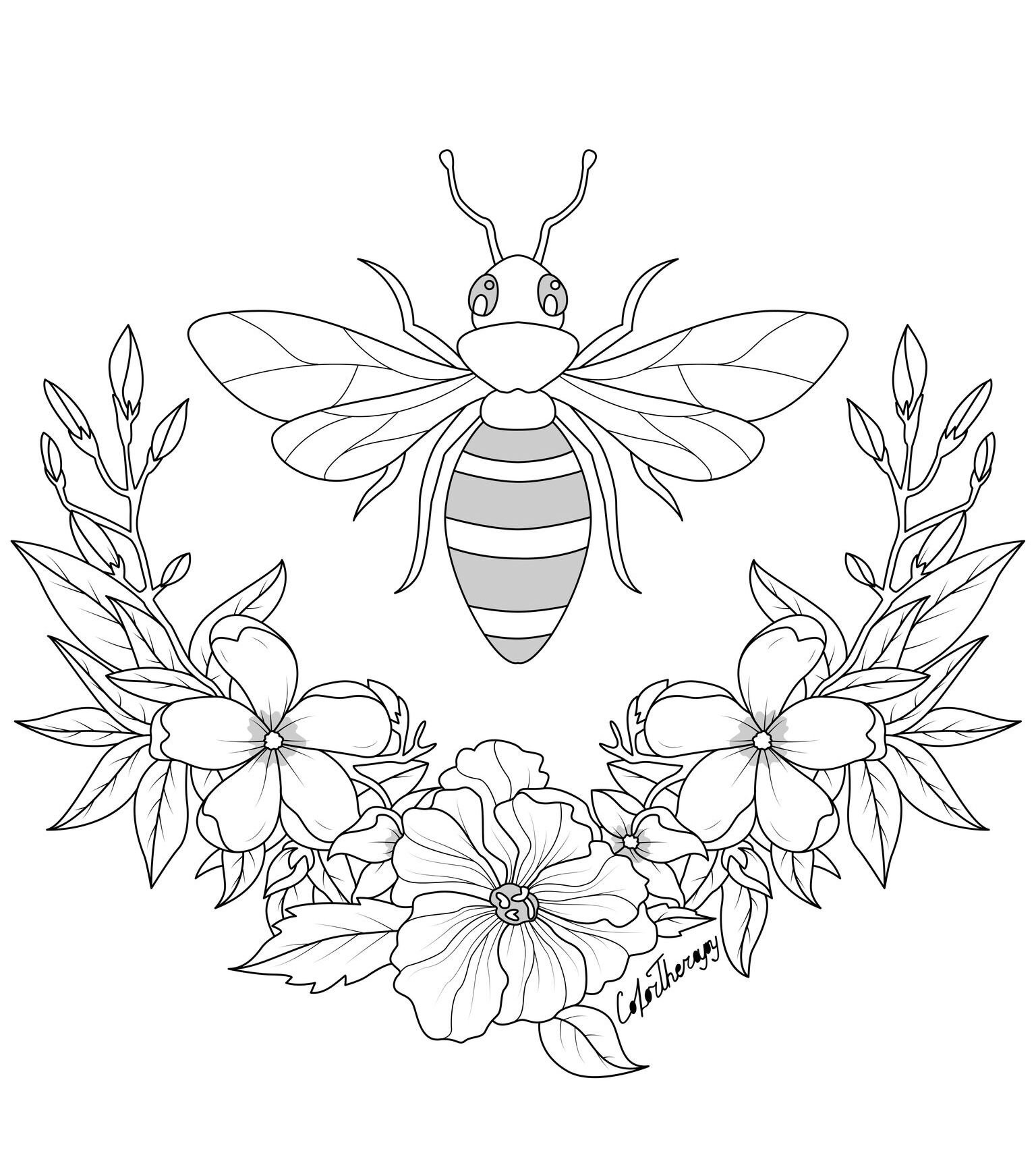 The Sneak Peek For The Next Gift Of The Day Tomorrow Do You Like This One Bee Flowers Bee Coloring Pages Animal Coloring Pages Coloring Pages [ 1712 x 1536 Pixel ]