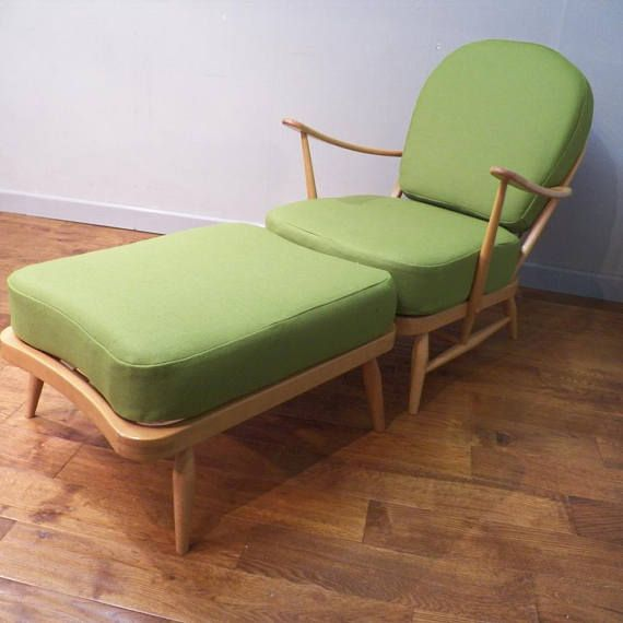 Ercol Armchair and Matching Footstool