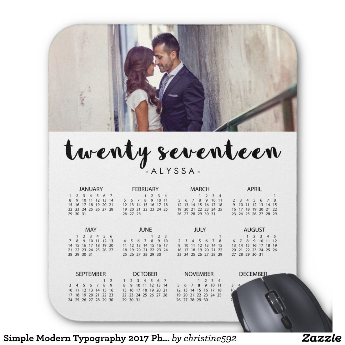 Simple Modern Typography 2017 Photo Calendar Mouse Pad