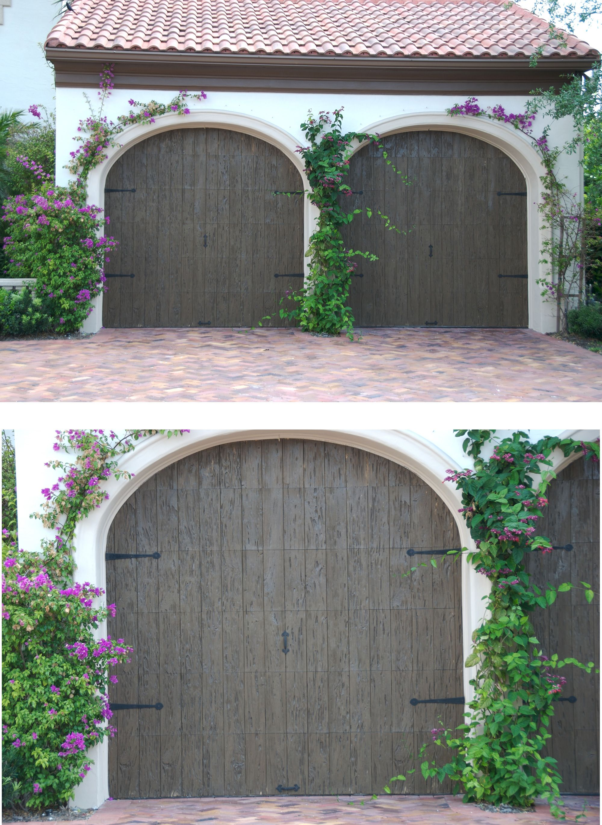 Curb appeal of wood garage door. Durability of faux wood ...