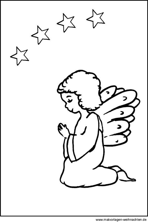 ausmalbild engel mit kerze  engel vorlage kostenlose