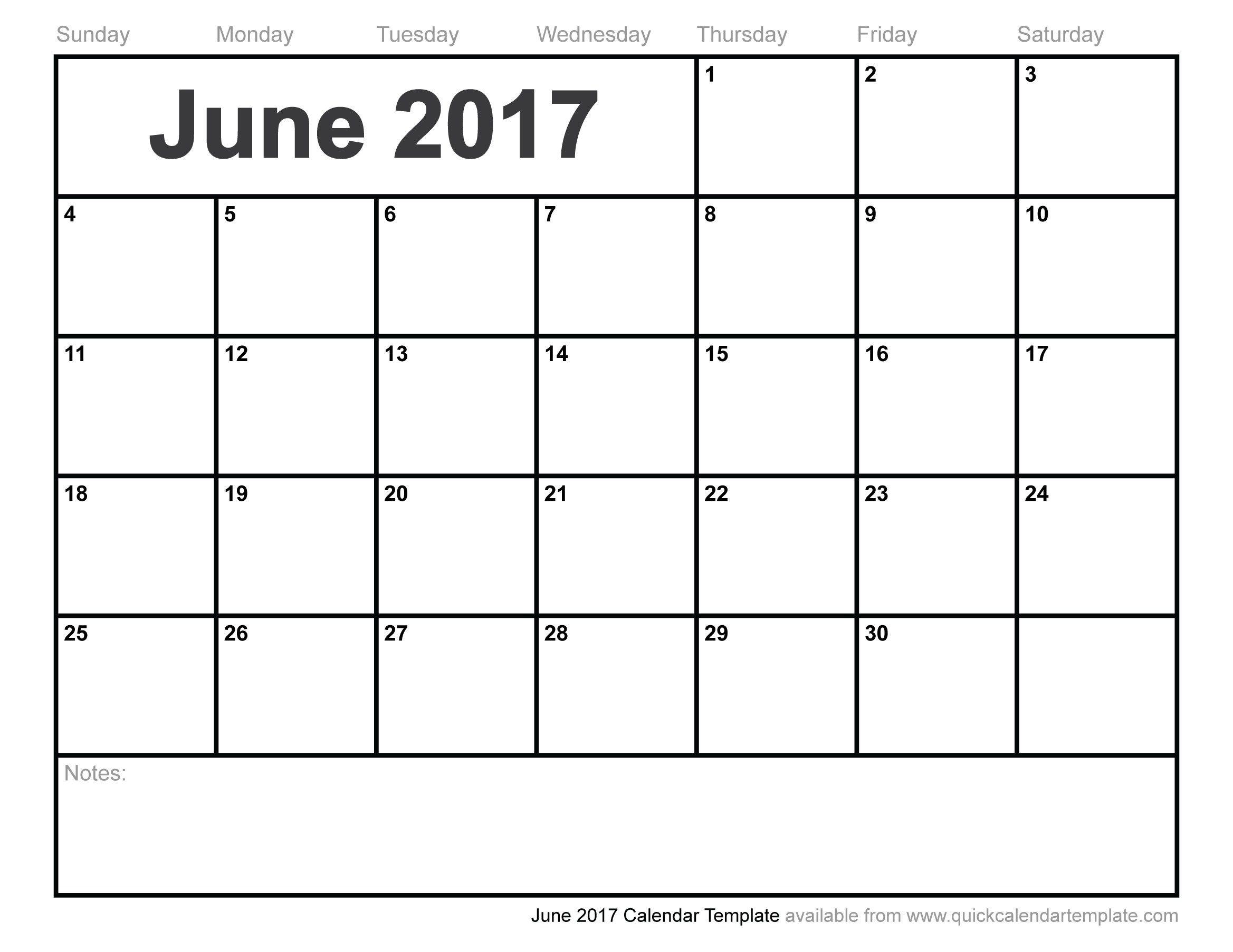 June 2017 Calendar Template Word Bulletin Board Pinterest