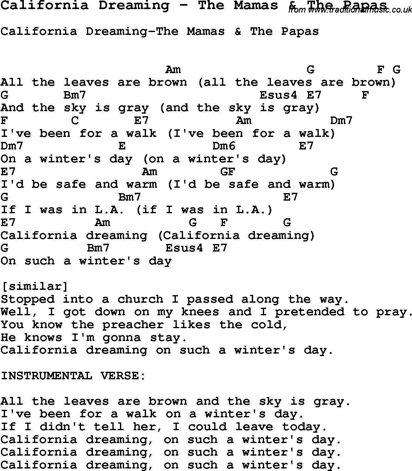 Song california dreaming by the mamas the papas with lyrics for song california dreaming by the mamas the papas song lyric for vocal performance plus accompaniment chords for ukulele guitar banjo etc hexwebz Gallery