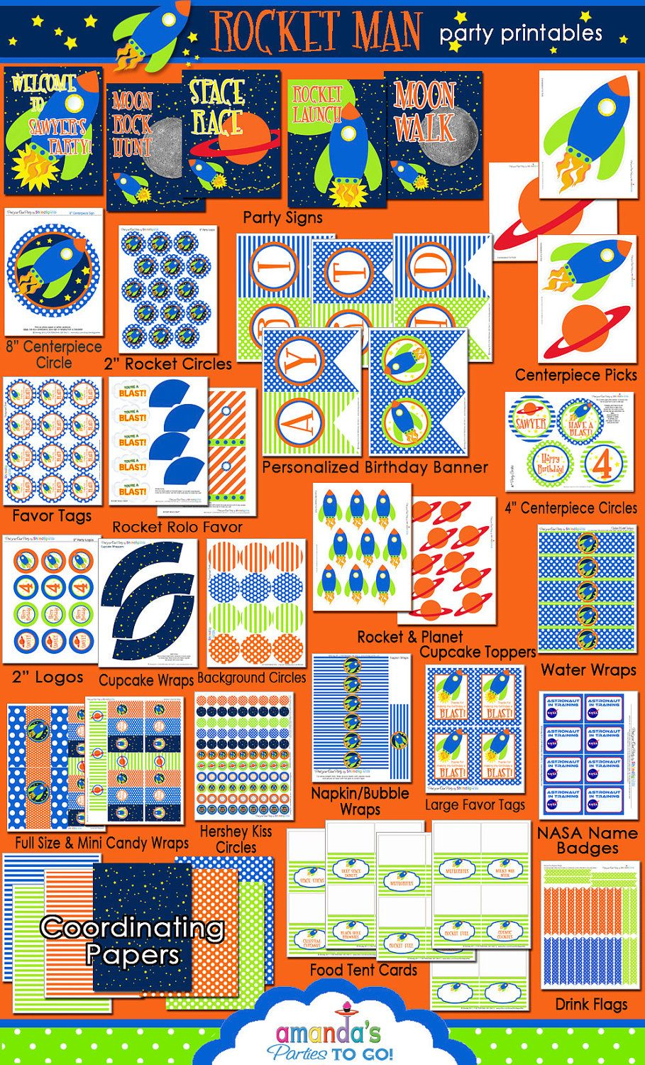 Space Birthday Decorations Space Party Printables Rocket Party - Astronaut decorations