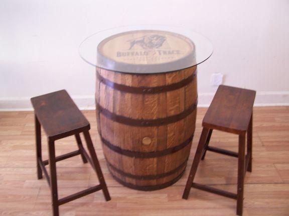 Buffalo Trace Whiskey Barrel Table 30Glass Top 2 24 Bar Stools