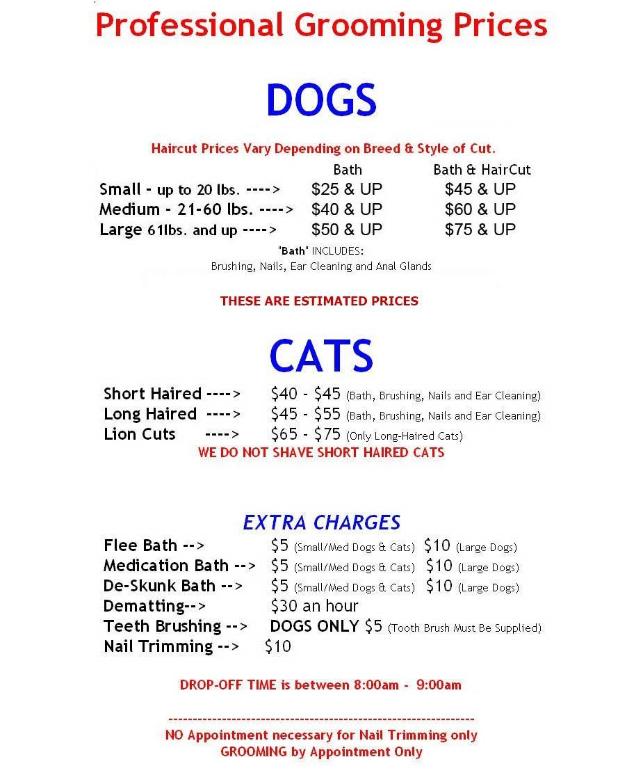 Dog Grooming Price List Yahoo Image Search Results in