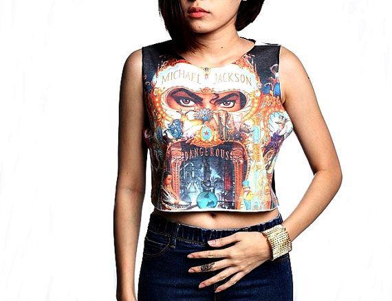 79557bd4152 Michael Jackson Crop Top Tank Shirt Cropped Tops S M L | ♛ MJ ...