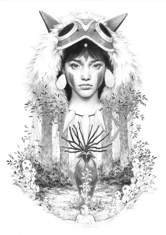 """Protector of the Forest"" Limited Edition Print Princess Mononoke Fantasy Illustration by Djamila Knopf $55"