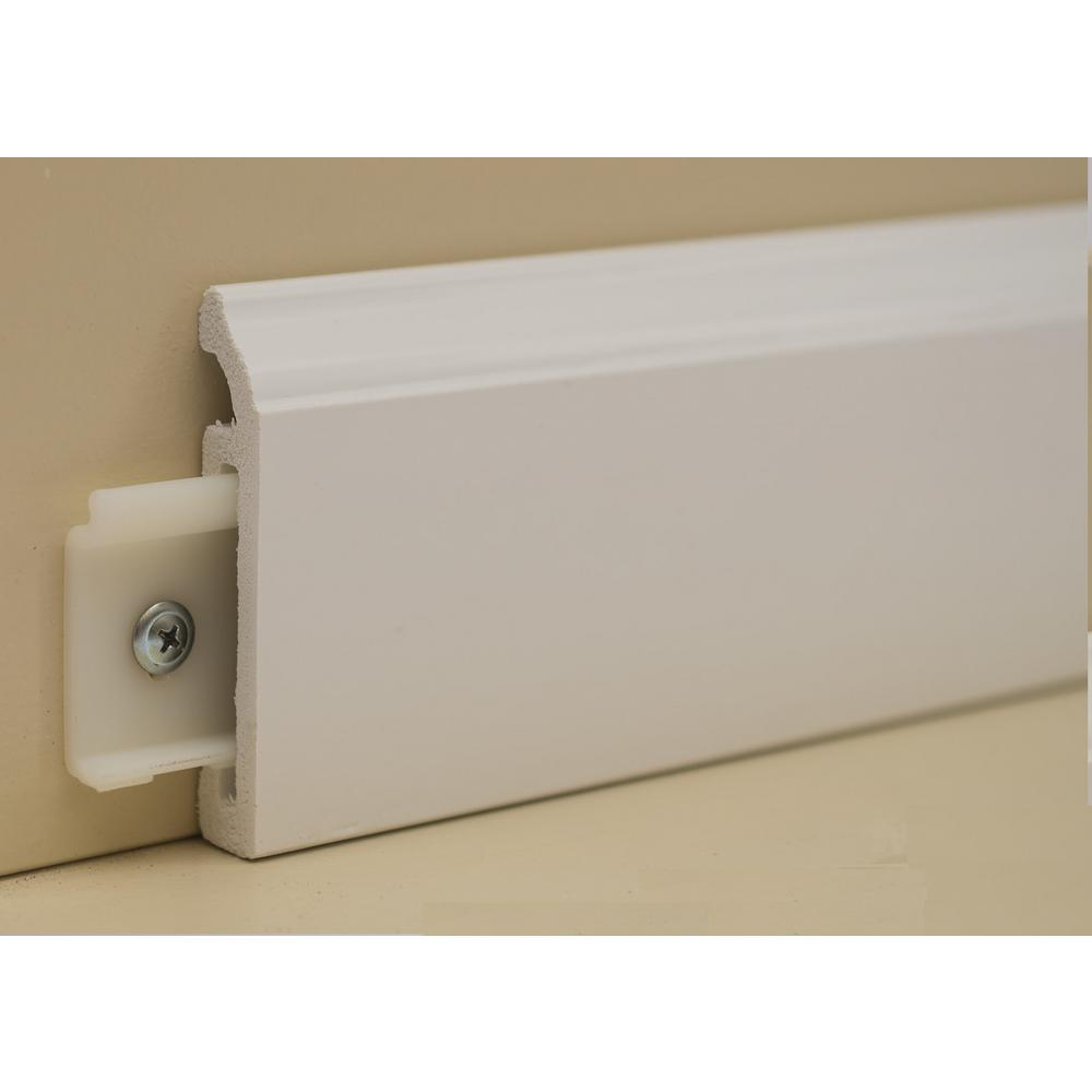 Made Rite 9 16 In X 3 1 4 In X 92 In Snapboard Coronado White Pvc Baseboards 6 Pcs Box 92 In 25 Clips Sob96b6c The Home Depot In 2020 Baseboards Modern Baseboards White Baseboards