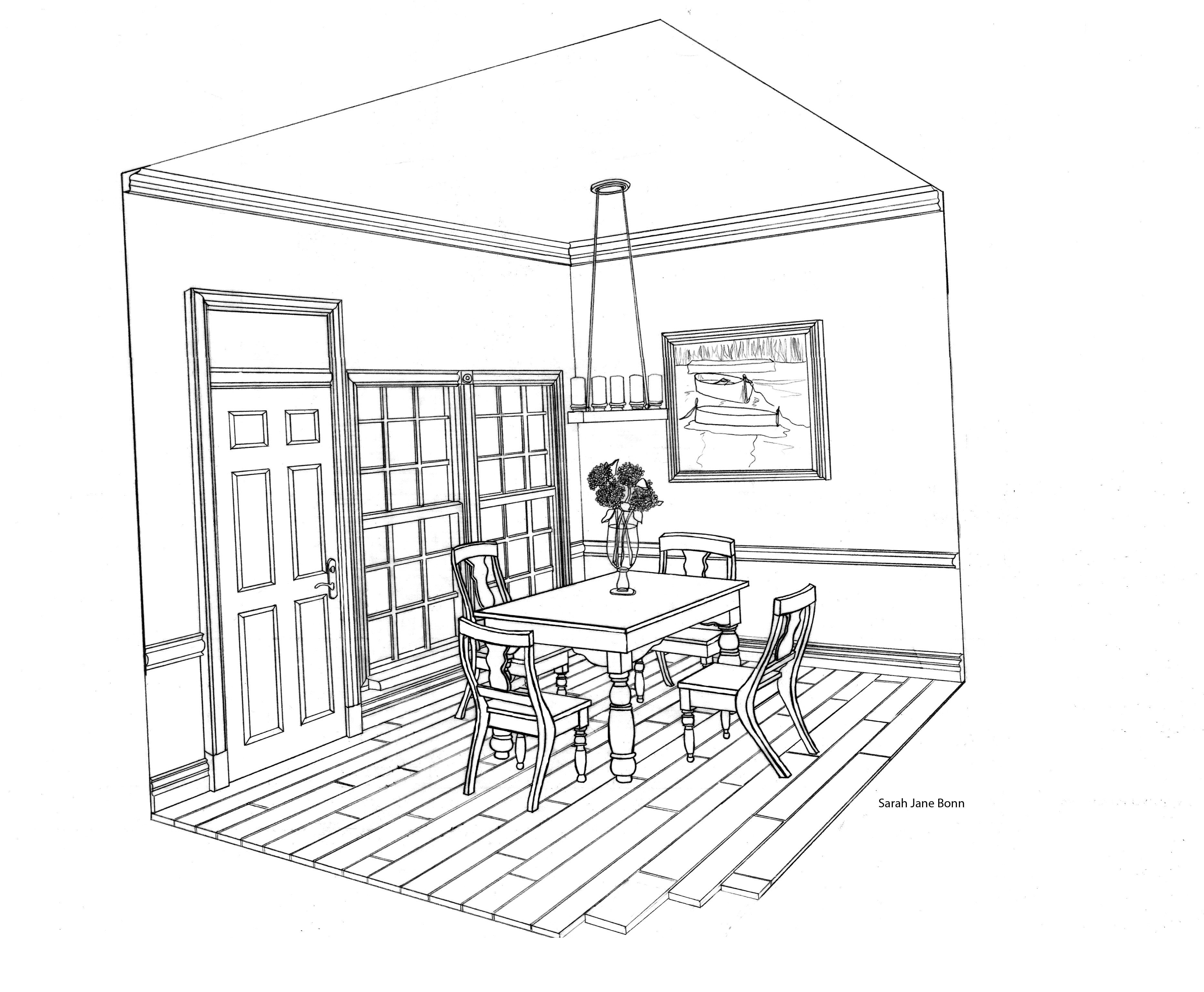 two point perspective drawing room - google search | perspective