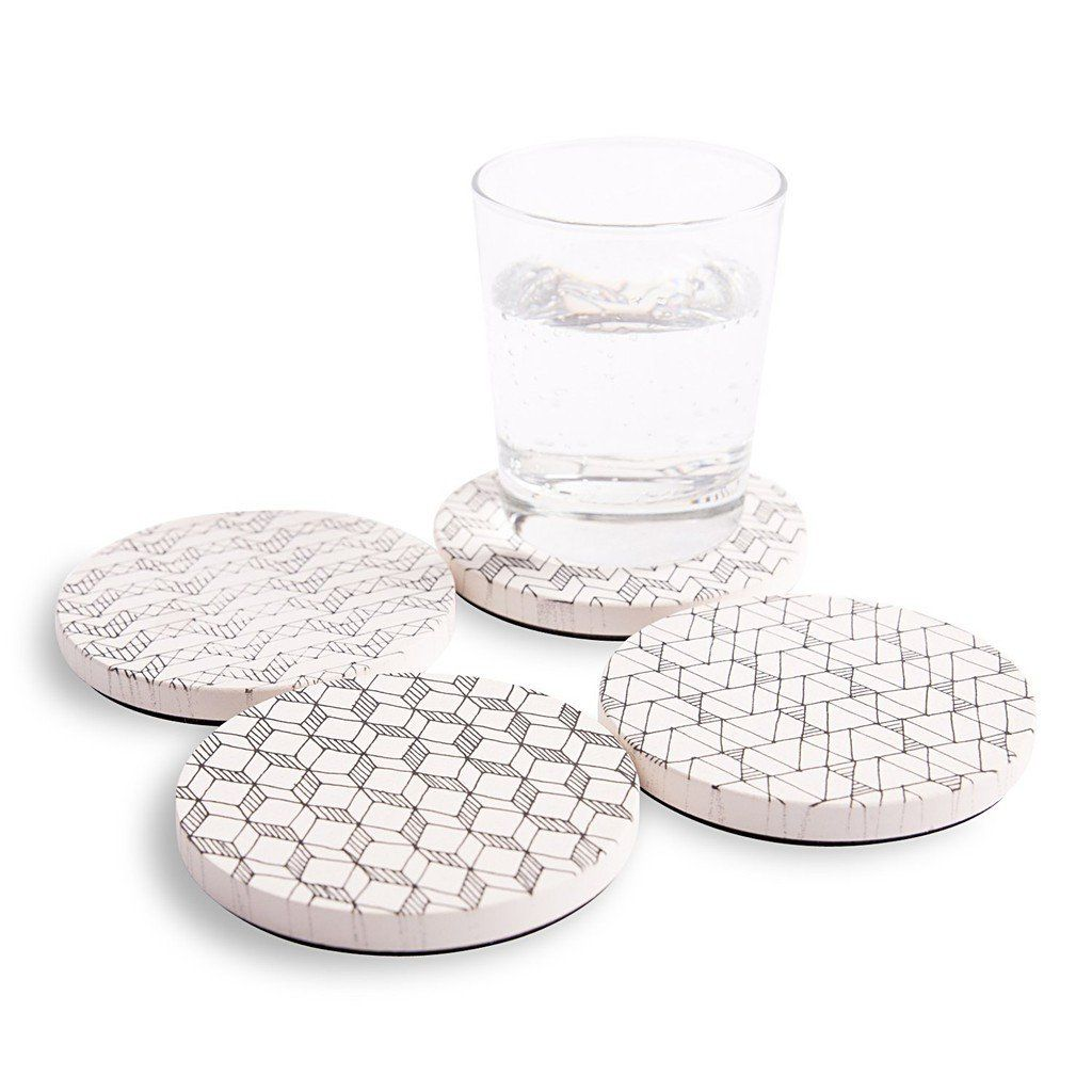 Absorbent Ceramic Coasters with Creative Doodling Designs