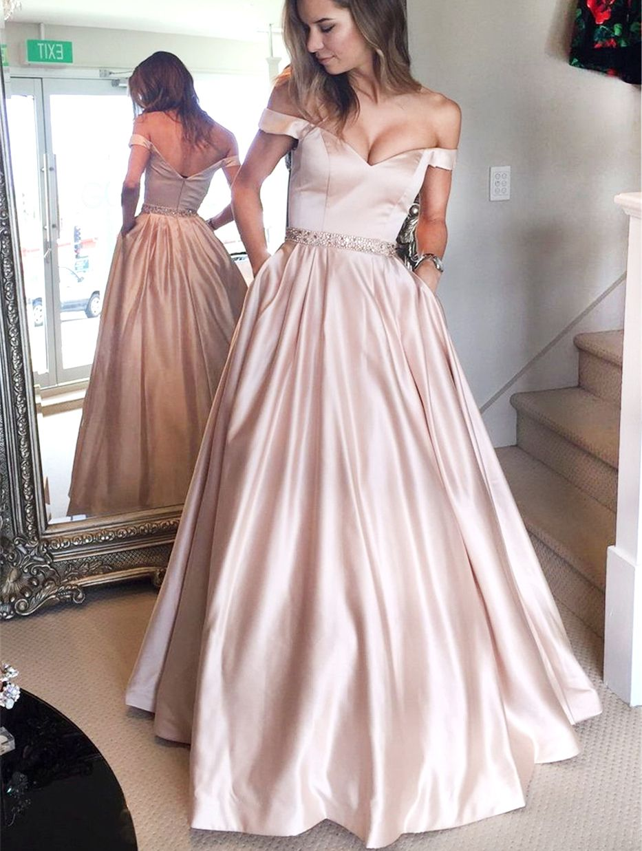 Simple aline off the shoulder pink long prom dress with pocket in