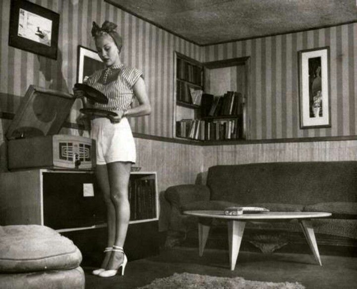 1950s Girl, Record Player & Fab Decor Via The Vintage Post