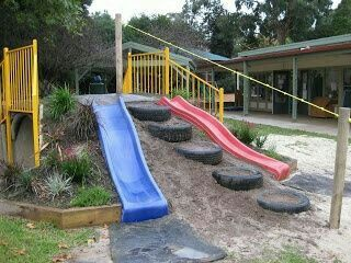 Very Cool DIY Backyard Play Area. Slide Built On A Hill
