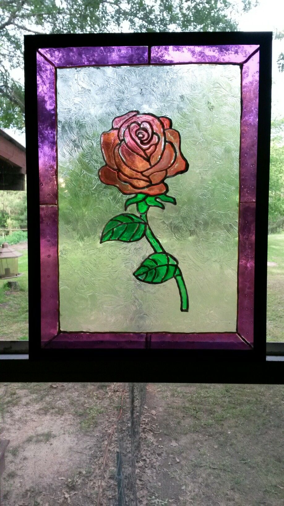 Faux stained glass rose