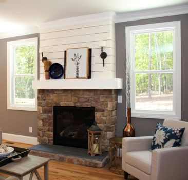 Shiplap And Stone Fireplace Living Rooms Farmhouse