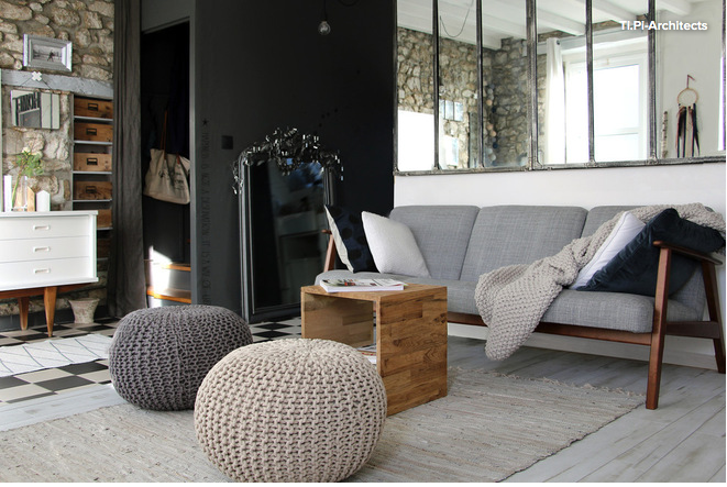 un salon scandinave minimaliste et chaleureux le canap ekenaset ikea les poufs en grosse. Black Bedroom Furniture Sets. Home Design Ideas