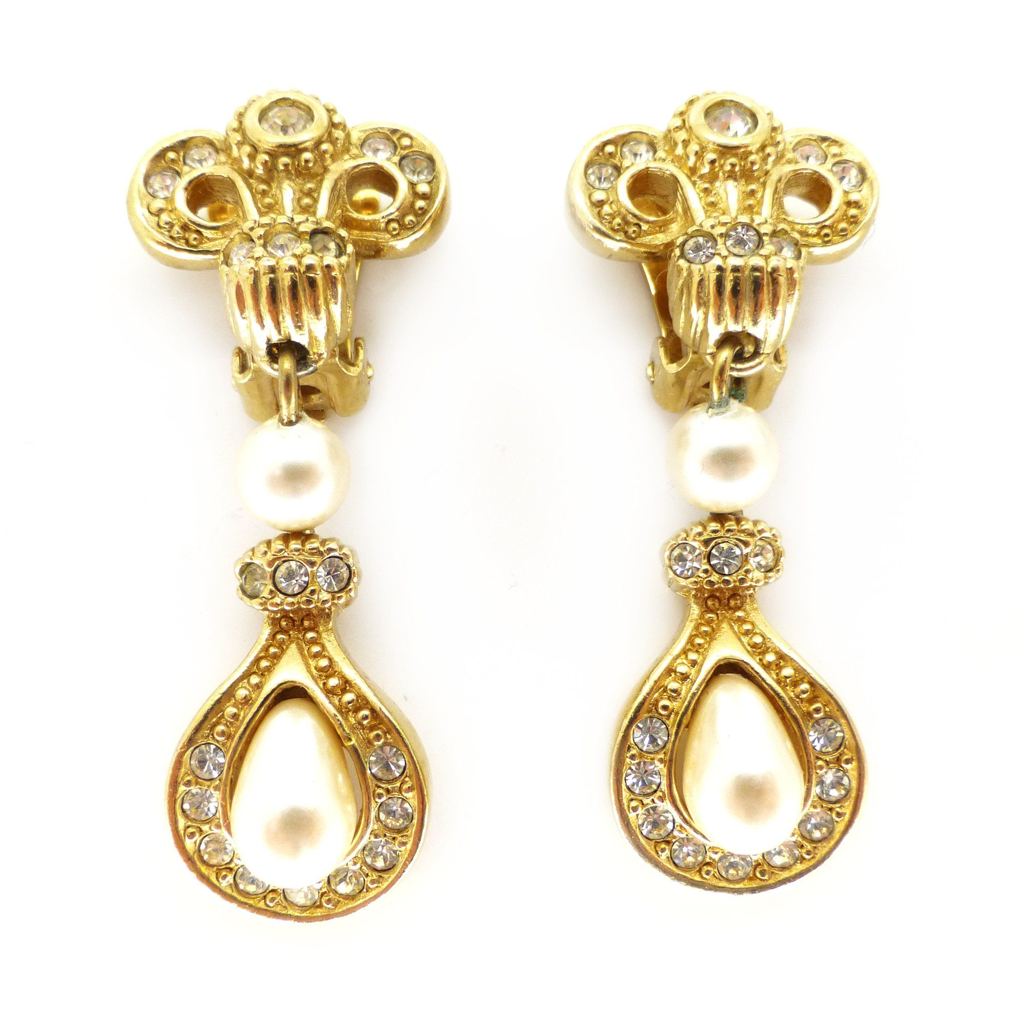 Gold · Vintage Christian Dior Gold Tone Pearl Drop Earrings ...
