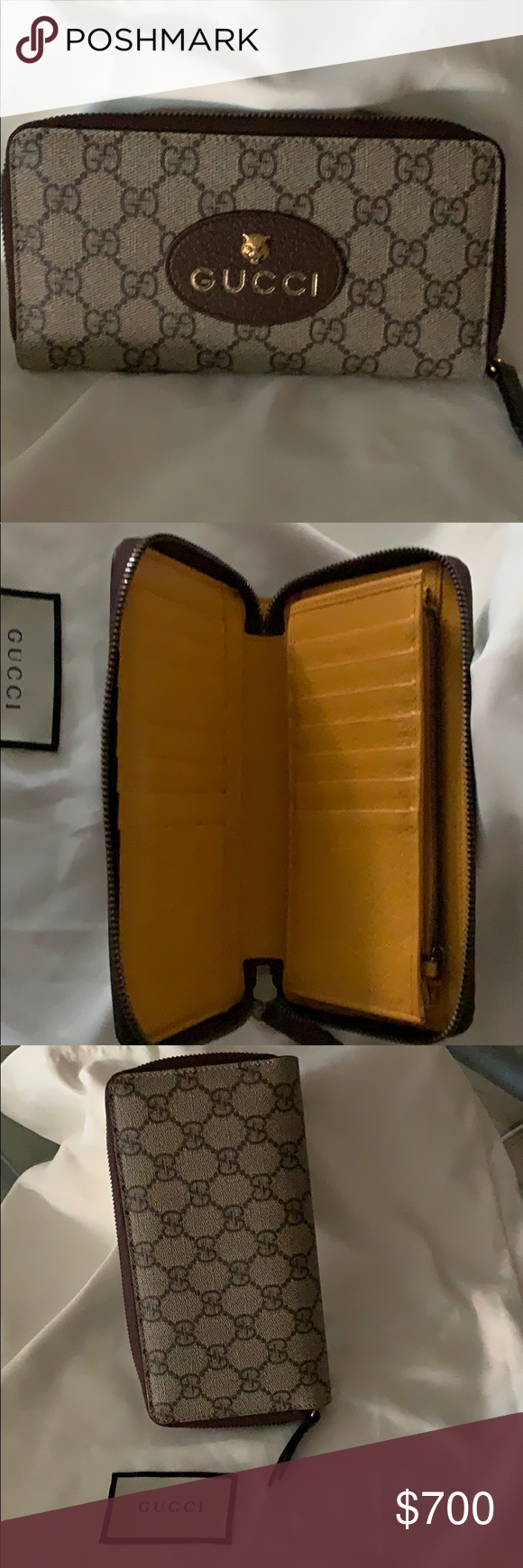 2c2c6e6ebb7 Gucci wallet with Gold fox Gucci Wallet - Clutch and credit card holder  Gucci Bags Wallets