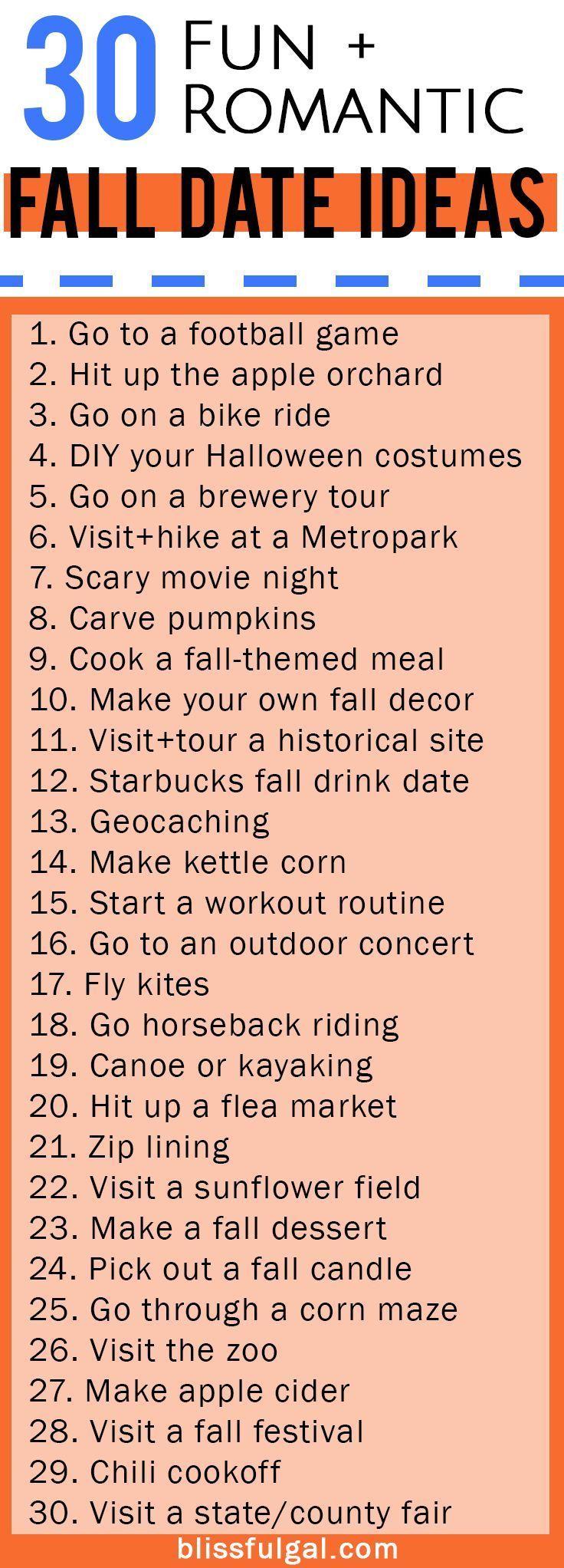 Fall Date Ideas #fallbucketlist 30 fall date ideas / affordable date ideas / che…
