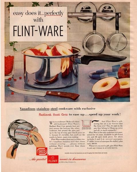 Vintage 1950s Ecko Flint Ware Magazine Print Ad Cookware Advertisement Kitchen Decor