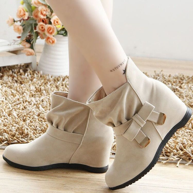 Womens Fuax Suede Round Toe Bowknot Slip On Wedge Lolita Dress Shoes Beige US 8
