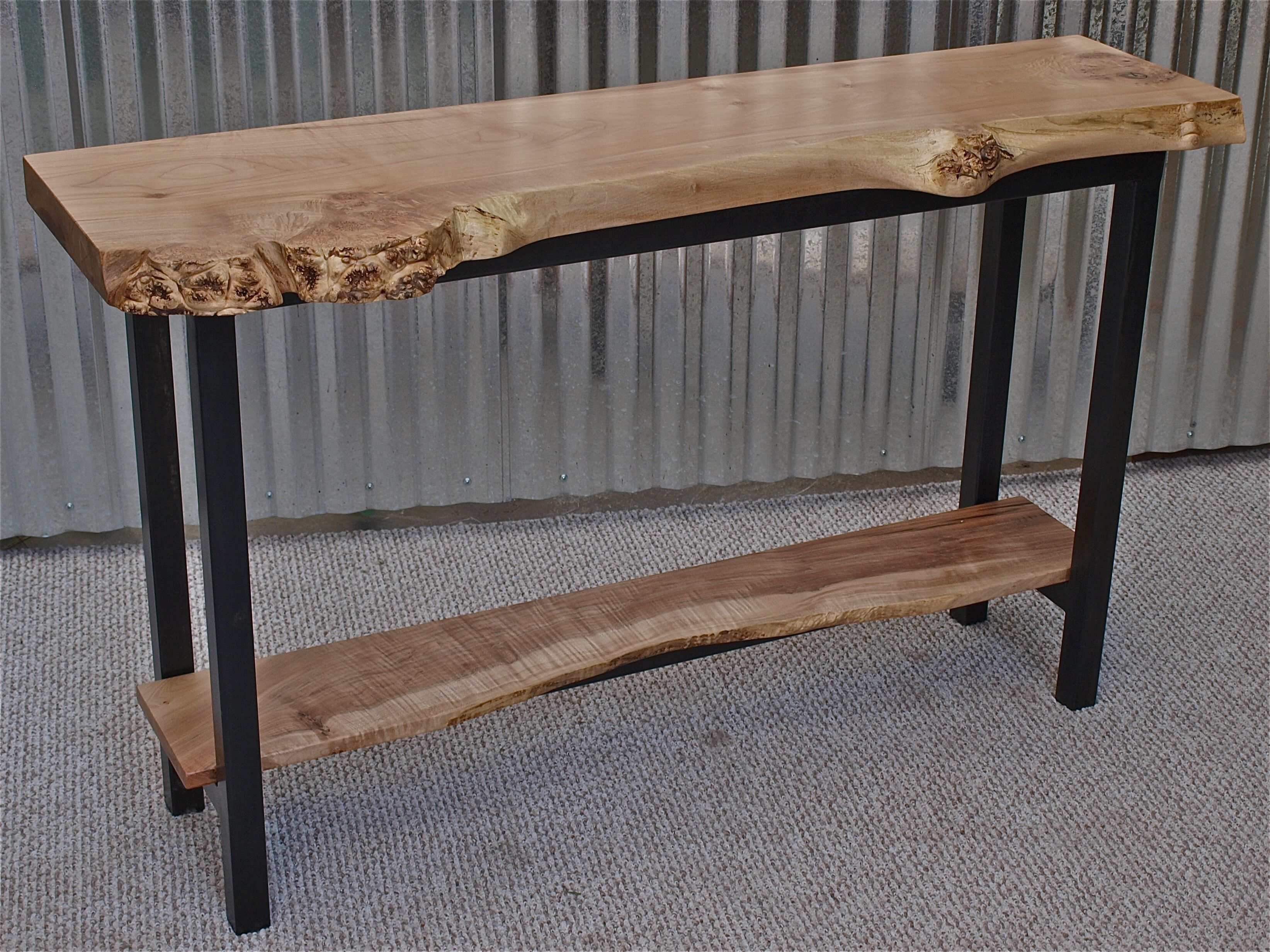 Live edge maple console table blackened steel base 48 x 13 x 32 live edge maple console table blackened steel base 48 x 13 x 32 geotapseo Image collections