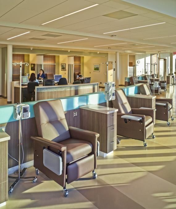 The Second Floor Infusion Area Offers A Choice Of Treatment Settings,  Including An Open Room With Chairs Facing A Wall Of Windows, Six  Semi Private Bays, ...