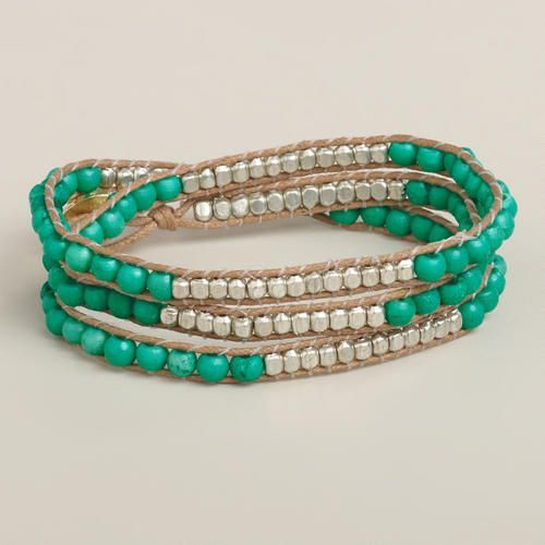 Turquoise Bead Friendship Wrap Bracelet   World Market