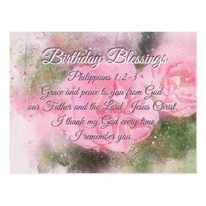 Birthday Blessings Philippians 12 3 Bible Verse Postcard