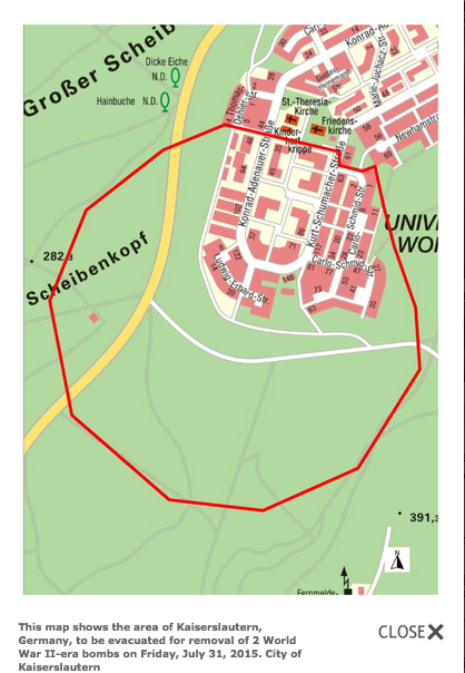 Kaiserslautern area to be evacuated for bomb removal
