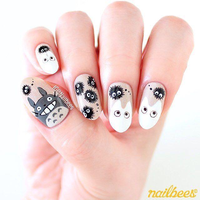 totoro nails | Nails! | Pinterest | Totoro, Anime nails and Art nails