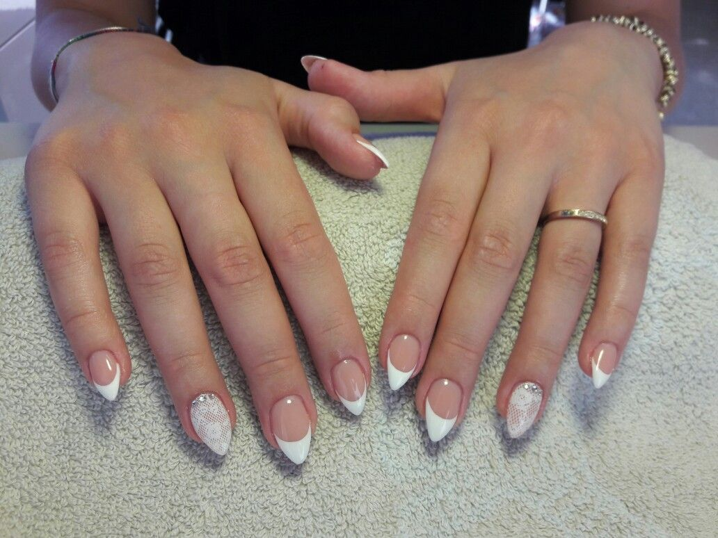 Short Almond Nails French And Lace With Swarowsky With Images