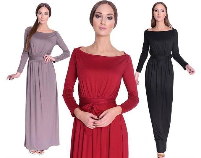 Kleid Lang Maxi Kleid mit Schleife Gr. XS S M L XL 2XL 3XL, 8193 ...
