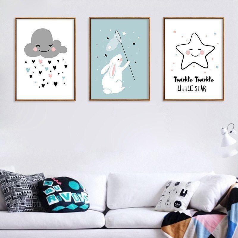 Kawaii pink twinkle star cloud nursery poster nordic wall
