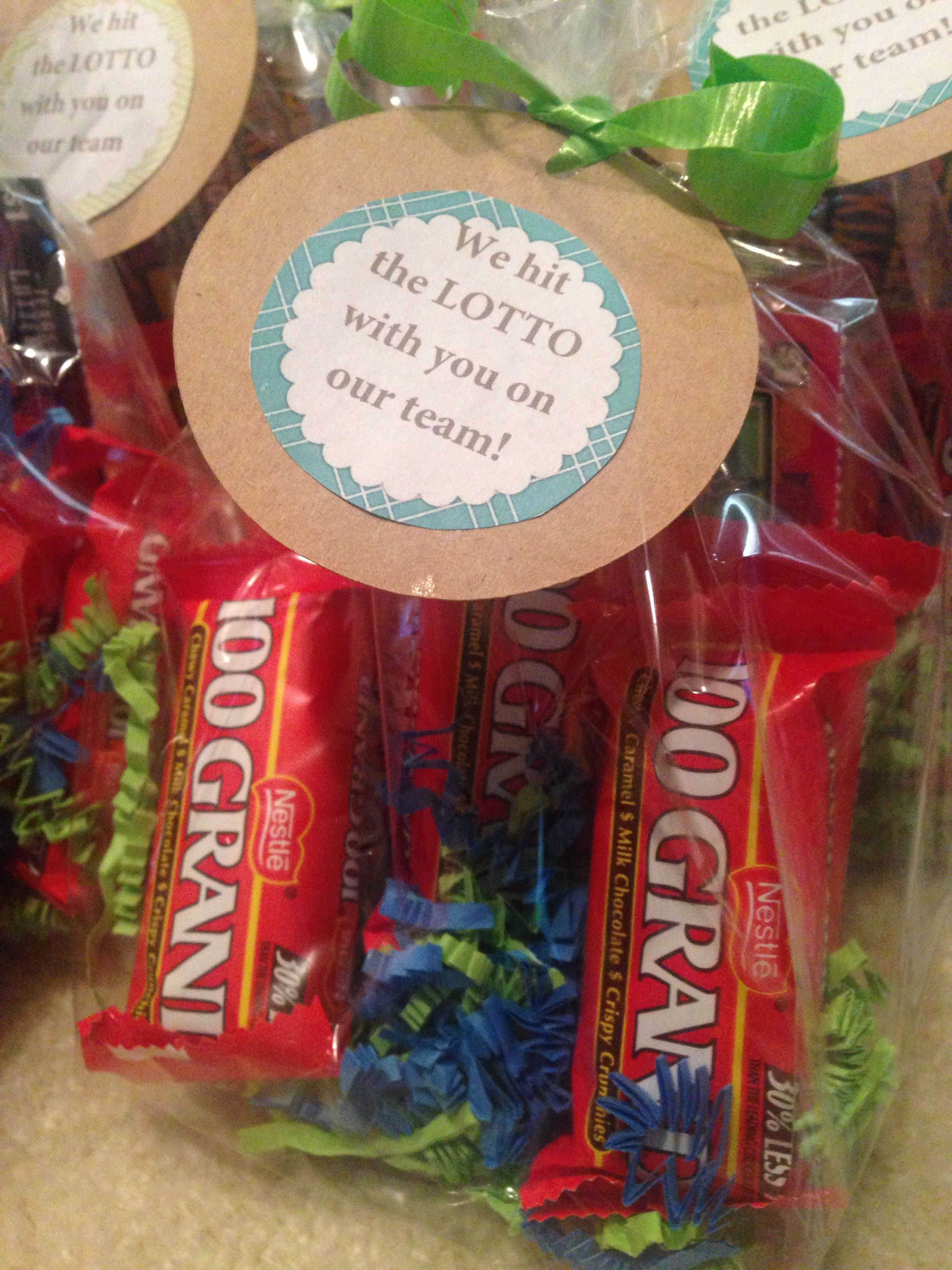 Employee Appreciation- lotto ticket and 100 grand candy ...