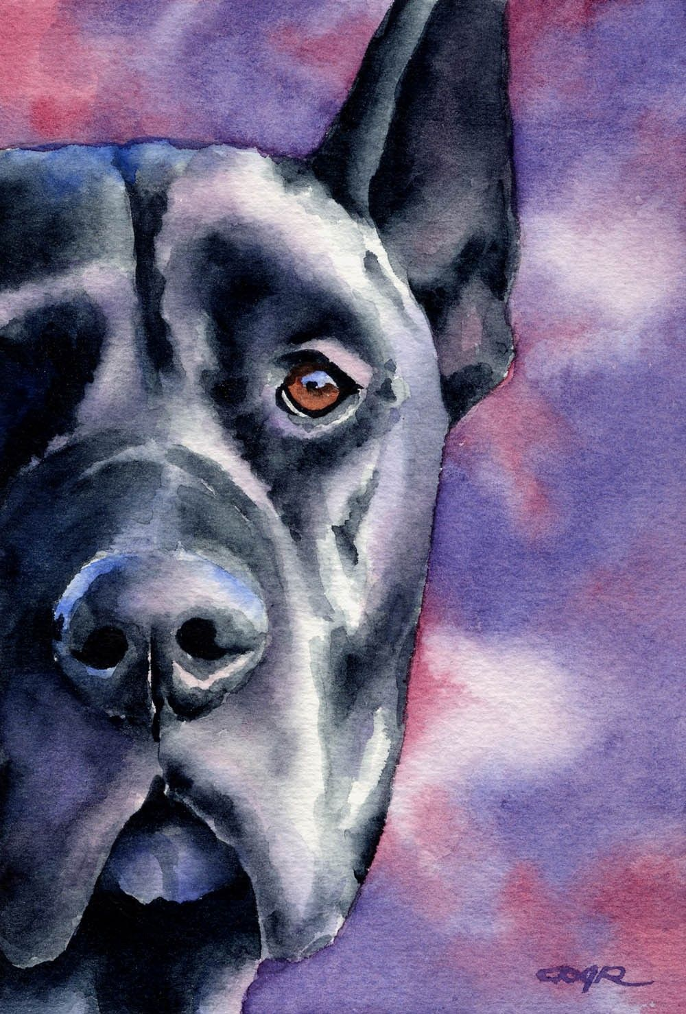 BLACK GREAT DANE Dog Art Print Signed by Artist D by k9artgallery
