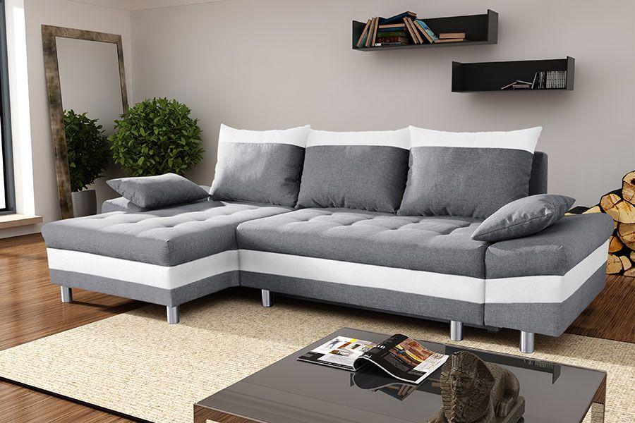 Canapé d angle convertible en tissu et PU BIAGIO avec coffre de