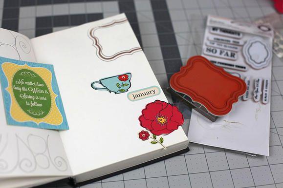 Mixed Media Art Journaling add stickers
