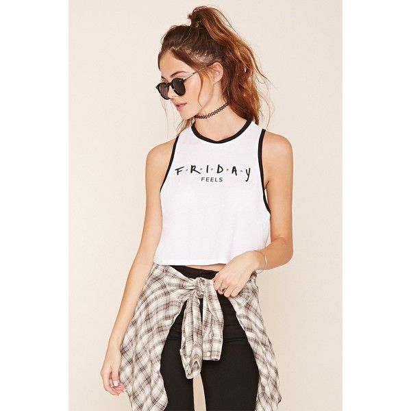 4fd524827 Forever 21 Women's Friday Feels Graphic Tank Top ($7.90) ❤ liked on Polyvore  featuring tops, graphic tanks, forever 21 tops, pink tank, pink tank top  and ...