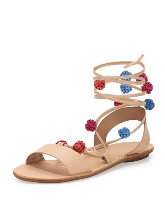 Saskia Flat Pompom Gladiator Sandal, Wheat/Bright Multi by Loeffler Randall  at Bergdorf Goodman