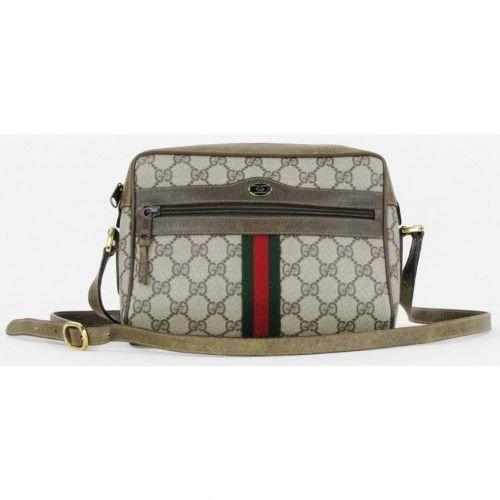 f937a9eab8e55e Gucci Vintage Monogram Signature Web Crossbody Bag #Guccihandbags ...