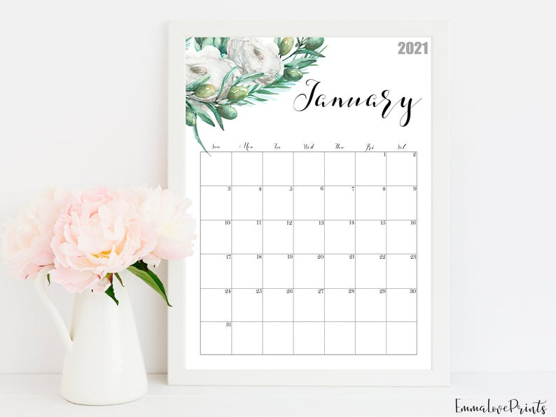 2021 Calendar Watercolour Calendar 2021 Botanical Wall Etsy Wall Calendar Watercolor Calendar 2021 Calendar