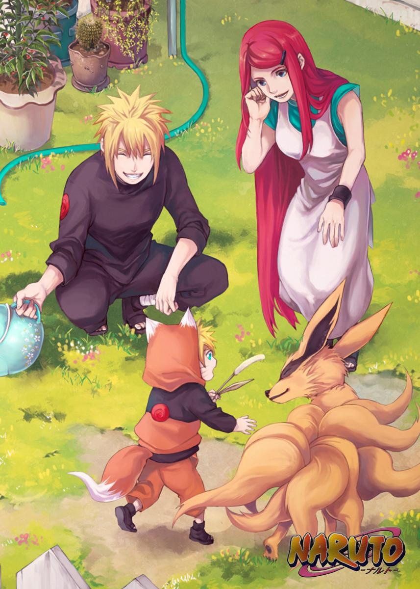 'Minato Naruto Kushina' Metal Poster Print - Oki I